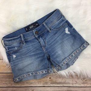 Hollister Embroidered Shorts Distressed Denim 00